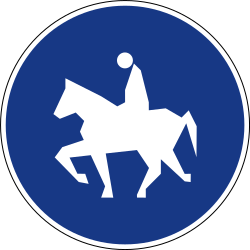 Traffic sign of Slovenia: Mandatory path for equestrians