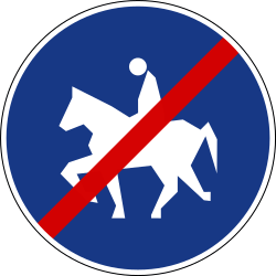 Traffic sign of Slovenia: End of the path for equestrians