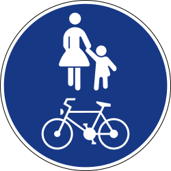 Traffic sign of Slovenia: Mandatory shared path for pedestrians and cyclists
