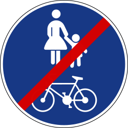 Traffic sign of Slovenia: End of the shared path for pedestrians and cyclists
