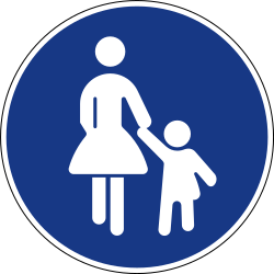 Traffic sign of Slovenia: Mandatory path for pedestrians