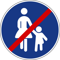 Traffic sign of Slovenia: End of the path for pedestrians