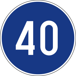 Traffic sign of Slovenia: Driving faster than indicated mandatory (minimum speed)