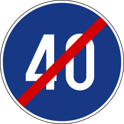 Traffic sign of Slovenia: End of the minimum speed