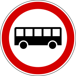 Traffic sign of Slovenia: Buses prohibited