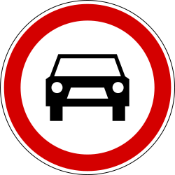 Traffic sign of Slovenia: Cars prohibited