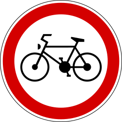 Traffic sign of Slovenia: Cyclists prohibited