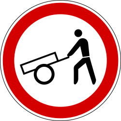 Traffic sign of Slovenia: Handcarts prohibited