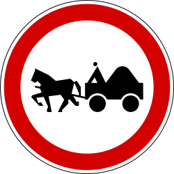 Traffic sign of Slovenia: Horse carts prohibited