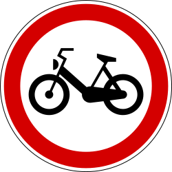 Traffic sign of Slovenia: Mopeds prohibited