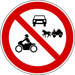 Traffic sign of Slovenia: Motorcycles, cars and horse carts prohibited