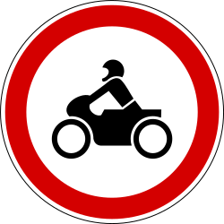 Traffic sign of Slovenia: Motorcycles prohibited