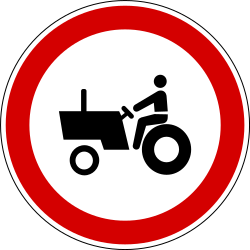 Traffic sign of Slovenia: Tractors prohibited