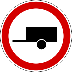 Traffic sign of Slovenia: Trailers prohibited