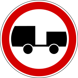 Traffic sign of Slovenia: Trucks with trailer prohibited