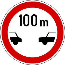 Traffic sign of Slovenia: Leaving less distance than indicated prohibited
