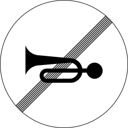 Traffic sign of Slovenia: End of the prohibition to use the horn