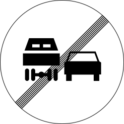 Traffic sign of Slovenia: End of the overtaking prohibition for trucks