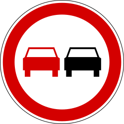 Traffic sign of Slovenia: Overtaking prohibited