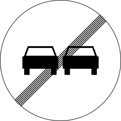 Traffic sign of Slovenia: End of the overtaking prohibition