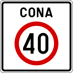 Traffic sign of Slovenia: Begin of a zone with speed limit