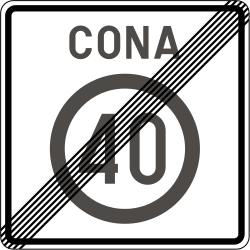 Traffic sign of Slovenia: End of the zone with speed limit