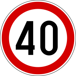 Traffic sign of Slovenia: Driving faster than indicated prohibited (speed limit)