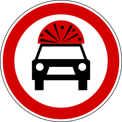 Traffic sign of Slovenia: Vehicles with explosive materials prohibited