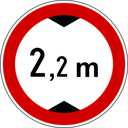 Traffic sign of Slovenia: Vehicles higher than indicated prohibited