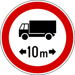 Traffic sign of Slovenia: Vehicles longer than indicated prohibited