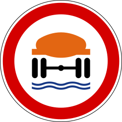 Traffic sign of Slovenia: Vehicles with polluted fluids prohibited