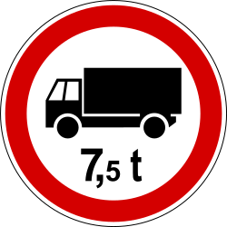 Traffic sign of Slovenia: Trucks heavier than indicated prohibited