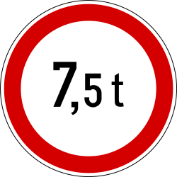 Traffic sign of Slovenia: Vehicles heavier than indicated prohibited