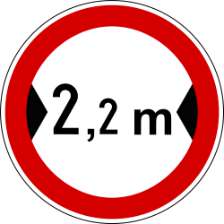 Traffic sign of Slovenia: Vehicles wider than indicated prohibited