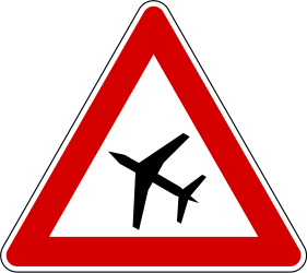 Traffic sign of Slovenia: Warning for low-flying aircrafts