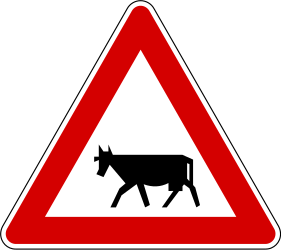 Traffic sign of Slovenia: Warning for cattle on the road