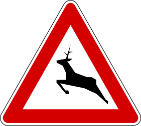 Traffic sign of Slovenia: Warning for crossing deer