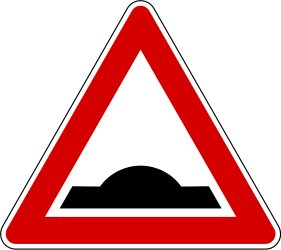 Traffic sign of Slovenia: Warning for a speed bump