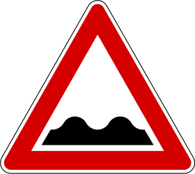 Traffic sign of Slovenia: Warning for a bad road surface