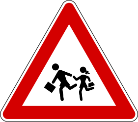 Traffic sign of Slovenia: Warning for children