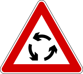 Traffic sign of Slovenia: Warning for a roundabout