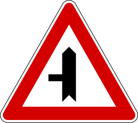 Traffic sign of Slovenia: Warning for a crossroad with a side road on the left