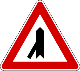 Traffic sign of Slovenia: Warning for a crossroad with a sharp side road on the left