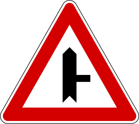 Traffic sign of Slovenia: Warning for side road on the right