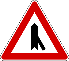 Traffic sign of Slovenia: Warning for a crossroad with a sharp side road on the right