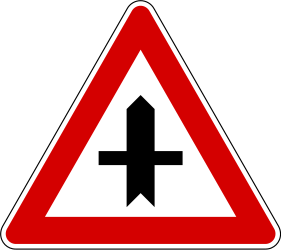 Traffic sign of Slovenia: Warning for a crossroad side roads on the left and right