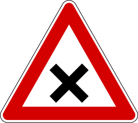 Traffic sign of Slovenia: Warning for an uncontrolled crossroad