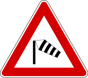 Traffic sign of Slovenia: Warning for heavy crosswind