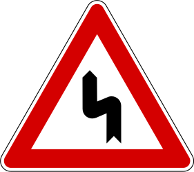 Traffic sign of Slovenia: Warning for a double curve, first left then right