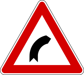 Traffic sign of Slovenia: Warning for a curve to the right